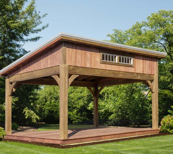 Pavilion Lean To-Wood-Gray Metal Roof