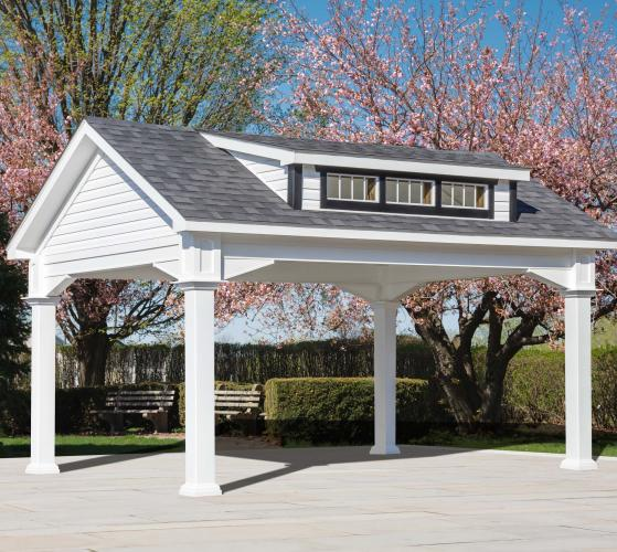 Pavilion-12'x16' White Vinyl-Dormer-Shingle Roof